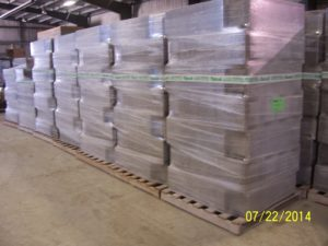 Durisol ICF blocks ready for shipment.  This photo shows about half the volume.  All in all it is 37,000 Lbs of product!