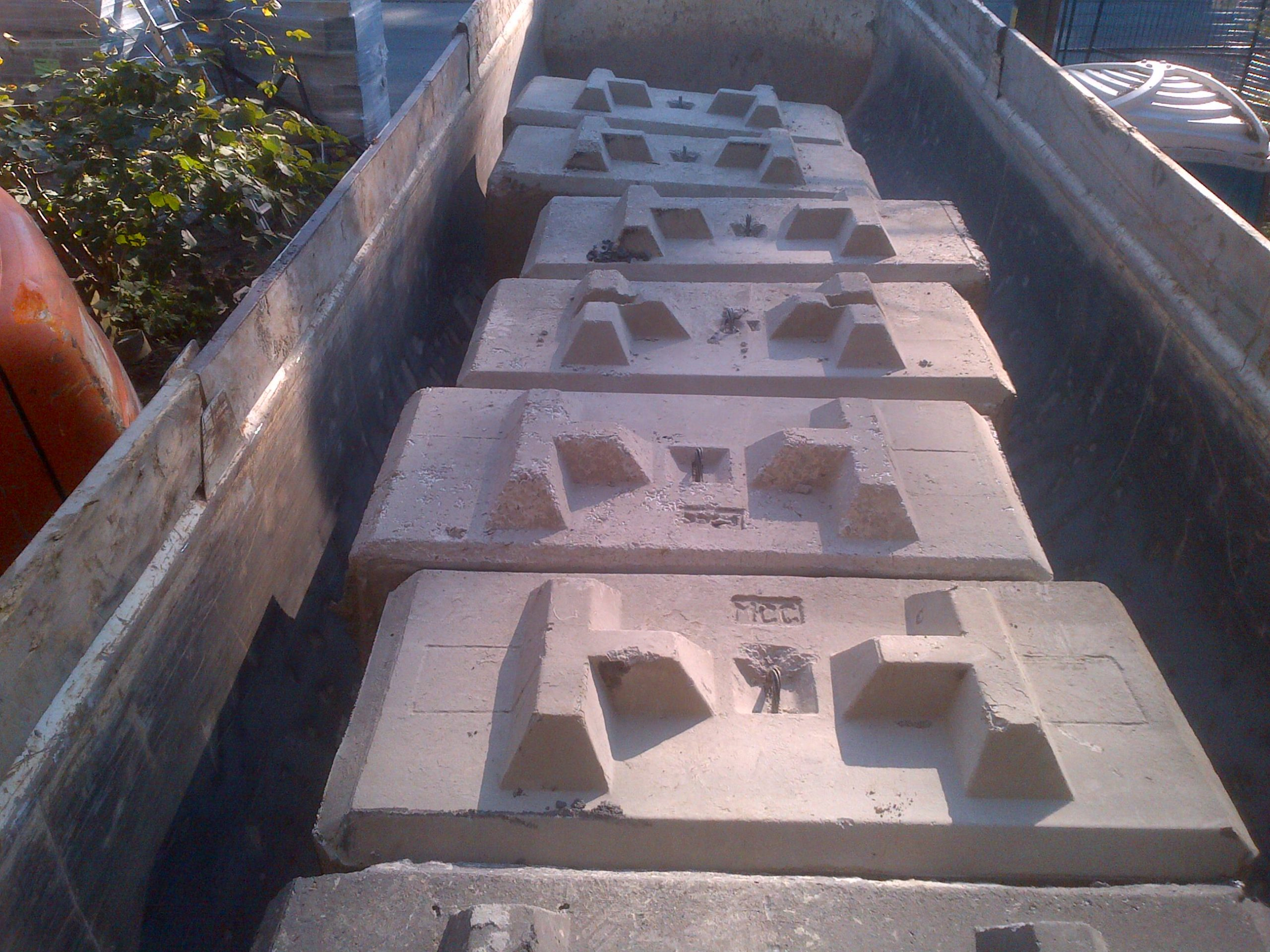 One of the deliveries of concrete lock blocks.