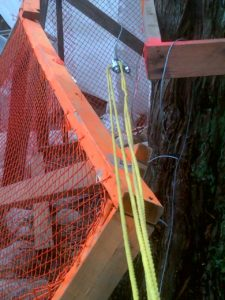 I believe the destruction started when this yellow chord become untied at the top of the tree. It was holding a tensioning strap that prevented the tarp from bunching up on the main line which would also prevent billowing.