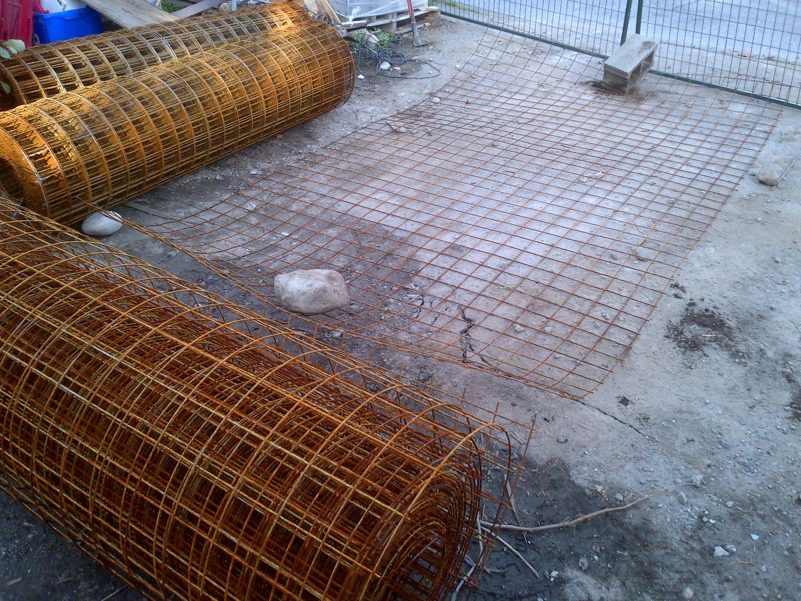 "4""x4"" Mesh 8Ga. will be placed in vertical sheets from the top to bottom of the excavation."