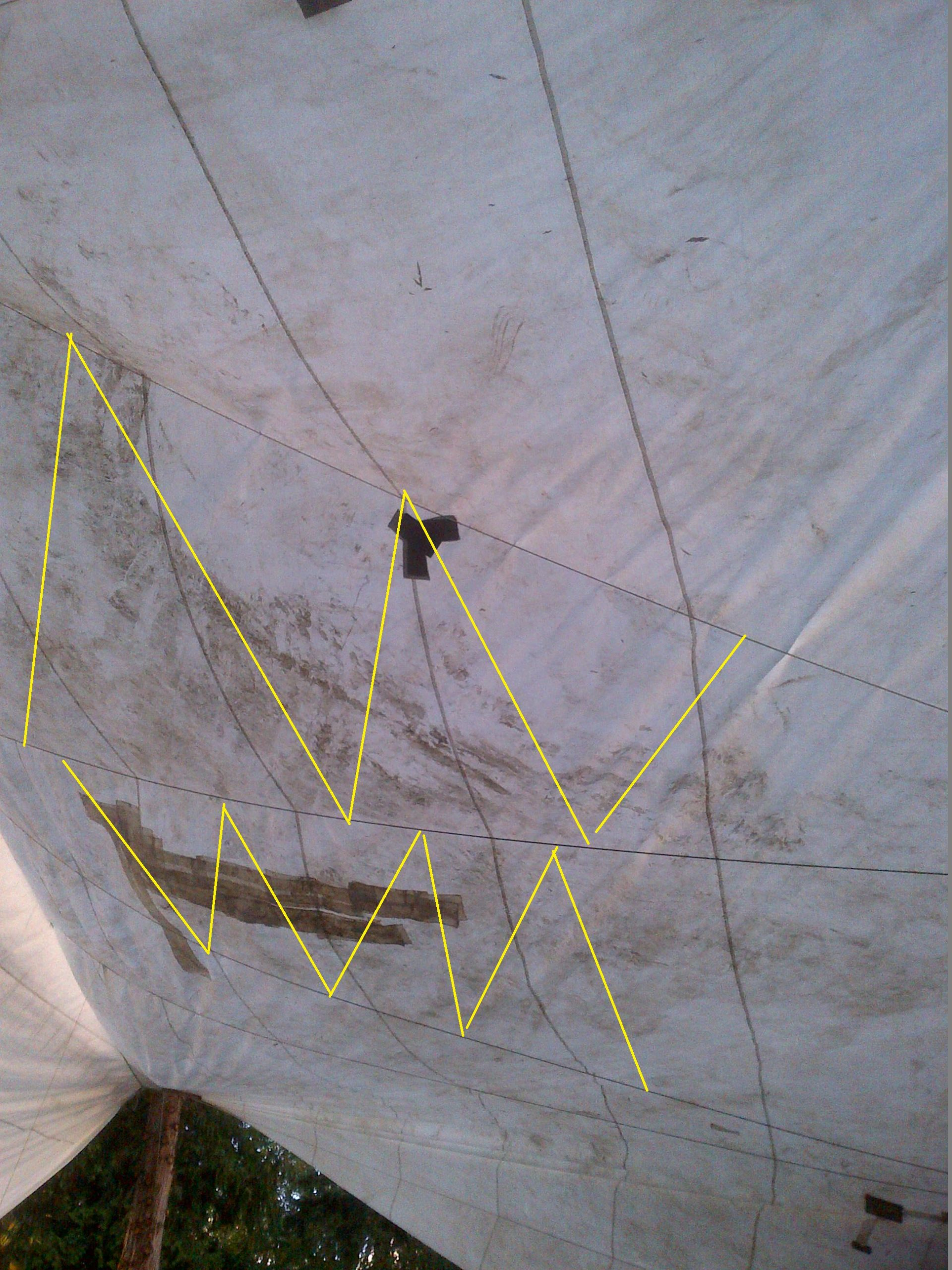 I originally planned to truss up between the support ropes, but today's rain test showed that not to be required.