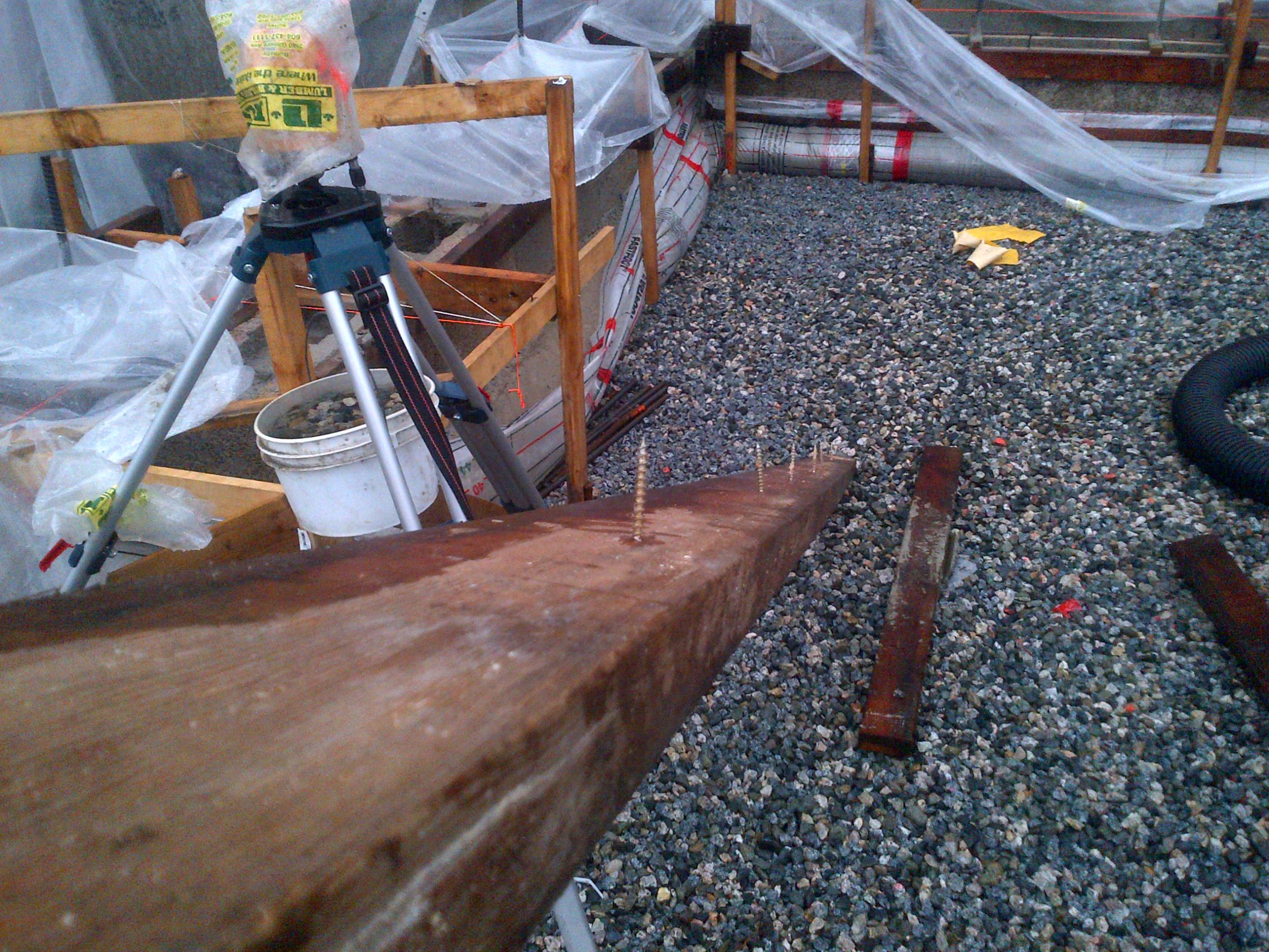 "These 2x4's were held into the durisol block with 3"" construction screws on about a 15"" spacing."