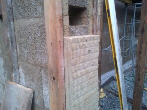 Fig 4: Two inches of ROCKWOOL line the rough openings.