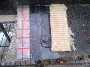 "Fig 1: Foundation Waterproofing Solution Step 1 - Fastfoot is stapled to ICF at base of foundation wall. Step 2 - A Sopralene Flam Stick Membrane is applied to the ICF lapping over the Fastfoot by at least 2"" Step 3 - Colphene Torch'N Stick is applied to the balance of the ICF wall lapping over the Flam Stick. Step 4 - Torch the surface of the Torch'N Stick to adhere the ROCKWOOL Insulation."