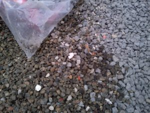 RRR also utilizes much nicer gravel with very few fines. Gravel on right was delivered by Tupper and is coarse, sharp (so it is very hard to shovel or rake), and had a lot of fines.