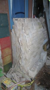 Stack of brick ready for its next life.  Gail did the first 5 rows and I did the last three.