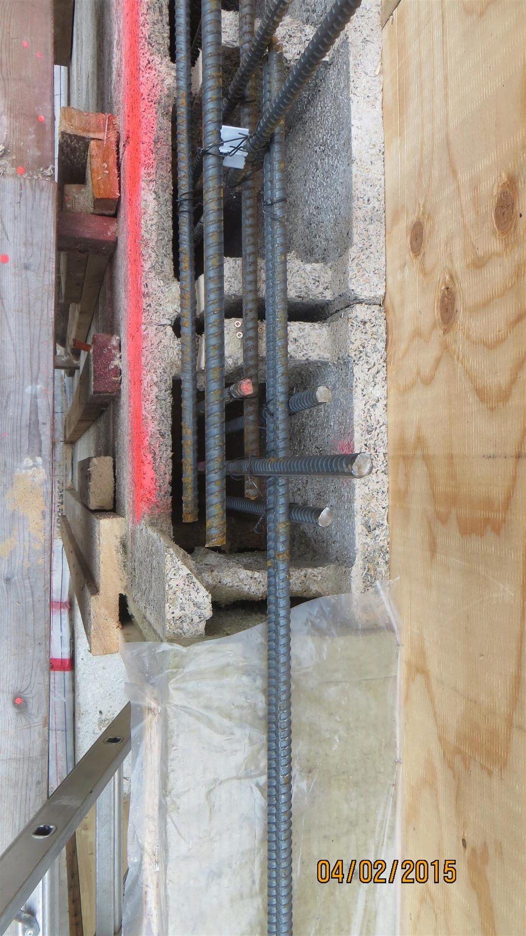 A bundle of bars - each side of an opening or end of an ICF wall needed two extra 15M vertical bars installed.