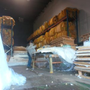 Picking up the coir coconut matting and Canadian Mattress Recycling