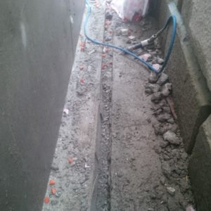 I was thankful for my pneumatic chisel to create the trench through the spilled concrete