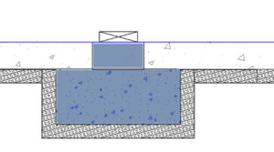 I am forming the internal footings with XPS foam to remove the thermal bridge that they would otherwise represent.  Placing foam under the footings was preferable from a structural point of view over sandwiching it between the footing and the slab. A load supporting curb will also be poured at the same time as the footing for engineering reasons and to allow the constrcution of the basement walls before the basement slab is placed.