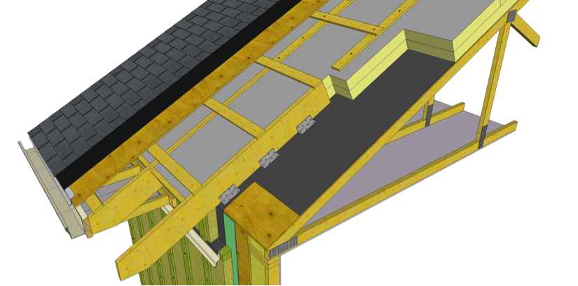 Example of a 100% exterior insulated roof assembly. In this case the attic formed by the structural roof truss would be a conditions space. Image Source:http://rdh.com/wp-content/uploads/2015/03/Roof-Assembly.png