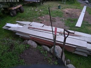 Fresh stack of newly salvaged sedar siding that was kindly de-nailed by my father-in-law