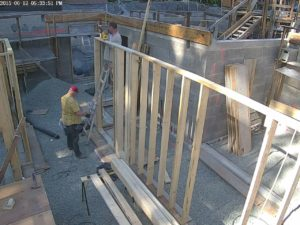 Ted and I fabricating one of the east bearing wall segments.