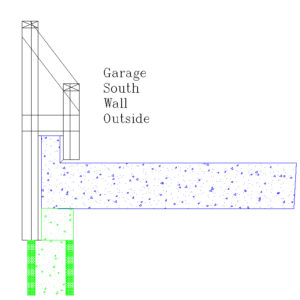 Plan for garage wall stub formwork.  Green is already poured.  2x4 uprights will allow for inboard side of forms to be hung without any inside attachment.